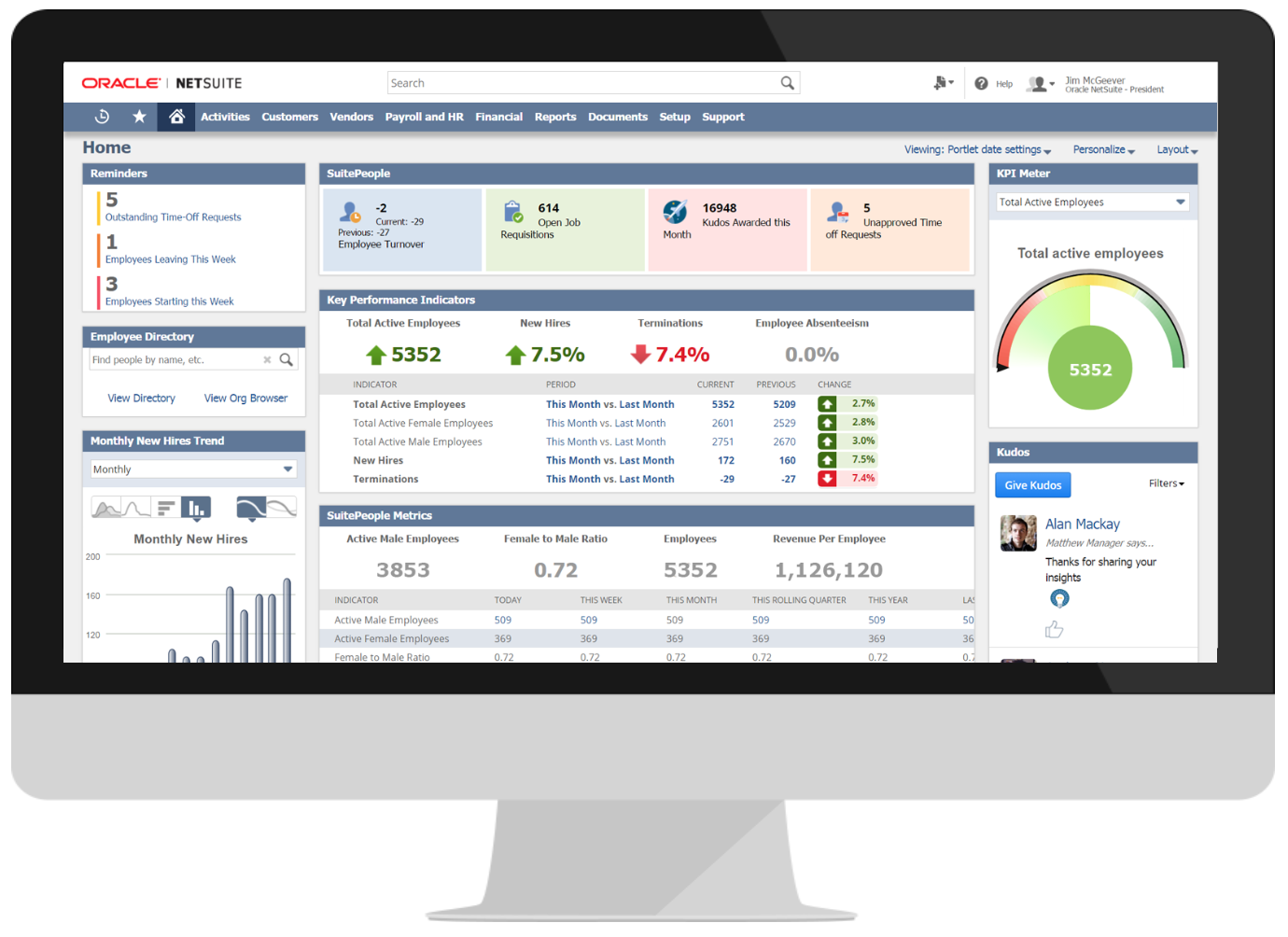 NetSuite's dashboard is user friendly and intuitive.